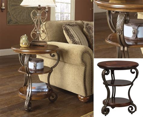 Ashley Furniture End Table Round Traditional Brown Nestor