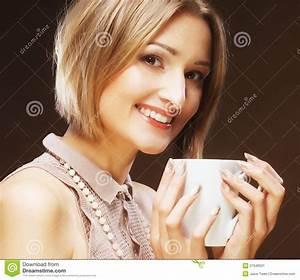 Beautiful Woman Drinking Coffee This Image Has Attached