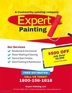 How To Make Promotional Flyers Expert Painting Services Flyer Poster Template Paint