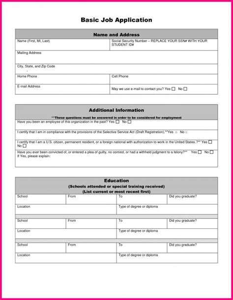 13522 simple application format generic application form template business