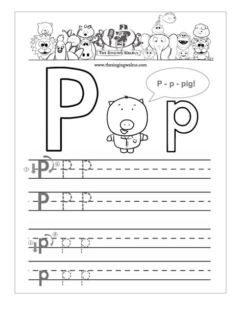 free letter p worksheets for kindergarten letter p