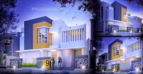 lingkar warna gambar aksonometri rumah modern minimalis