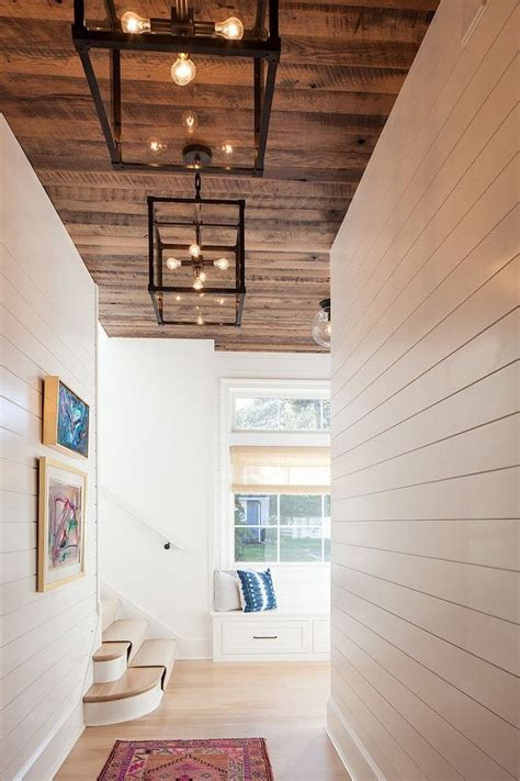 Stained Shiplap by Light Floors Reclaimed Wood Ceiling White Shiplap Walls