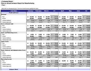 Project Dashboard Template Excel Free Plan Vs Actual Variance Report Manufacturing