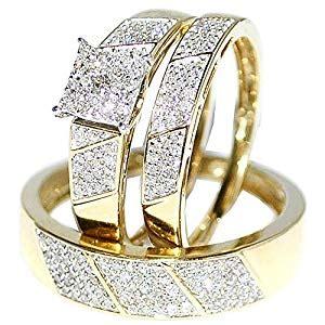 amazon com his her wedding rings set trio men women 10k