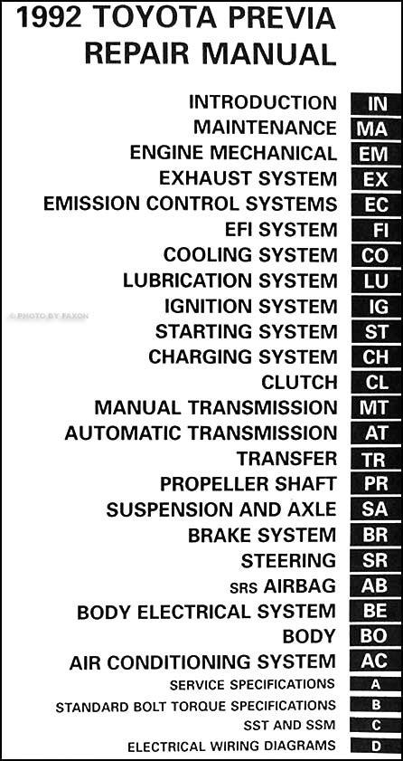 car maintenance manuals 1997 toyota previa user handbook 1992 toyota previa van repair shop manual original