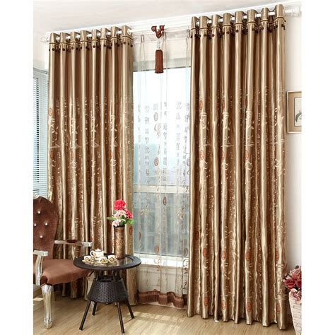 Bedroom Curtains by Coffee Patterned Embroidery Polyester Insulated And