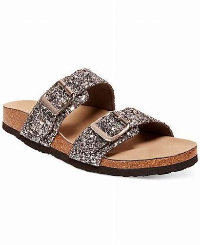 Sandals Madden Glitter Brando Leather Metallic Silver