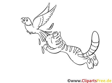 katze und vogel ausmalbild zum drucken und ausmalen