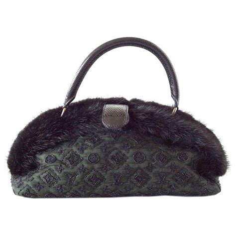 louis vuitton bag demilune mousseline long vert mink snake trim  stdibs