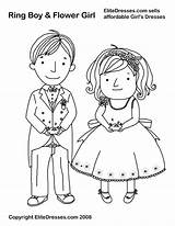 Coloring Pages Wedding Flower Ring Groom Bride Bearer Printable Cartoon Sheets Dresses Boy Children Colour Books Weddings Print Template Want sketch template