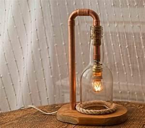 Lampe En Cuivre : lampe bois cuivre verre artisans d 39 art ~ Carolinahurricanesstore.com Idées de Décoration