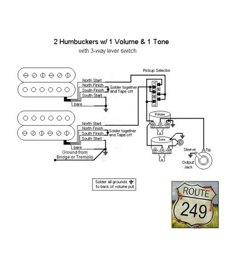 wiring two humbuckers with one volume and one tone route 249