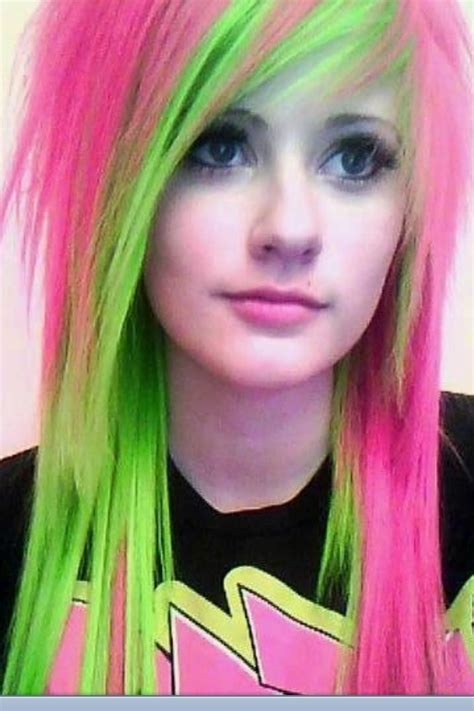 Pink And Green On Emo Girl Hair Pinterest Emo Girls