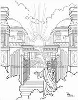 Gate Heavens Coloring Drawing Jesus Faithful Servant Welcome Christian Welcoming Heaven Goodsalt Adult Scripture Dave Connell Sketches Getdrawings sketch template