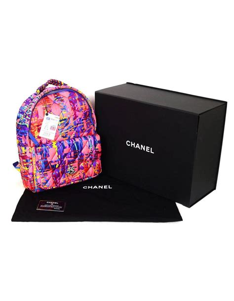 chanel pink  multicolor quilted backpack bag   stdibs