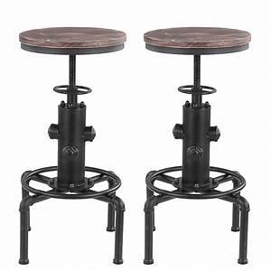 Tabouret Style Industriel : lot de 2 tabourets de bar de style industriel en bois ikayaa ~ Teatrodelosmanantiales.com Idées de Décoration