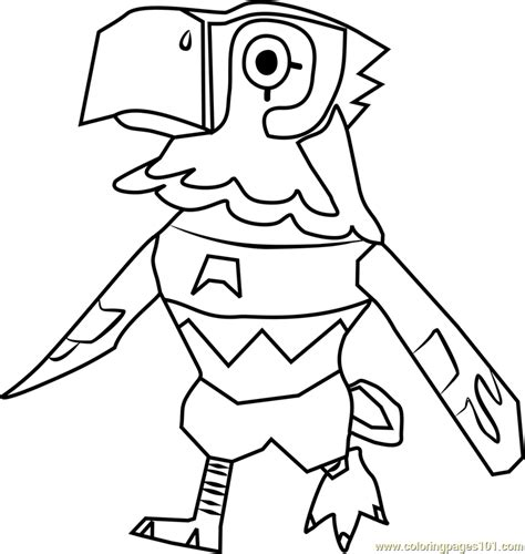 avery animal crossing coloring page  animal crossing