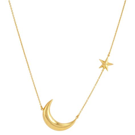 Large Moon and Star Necklace - Gold - Melinda Maria
