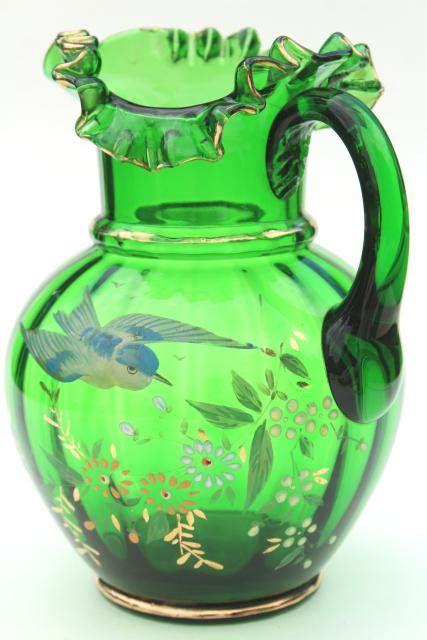 antique hand painted blown glass pitcher emerald green