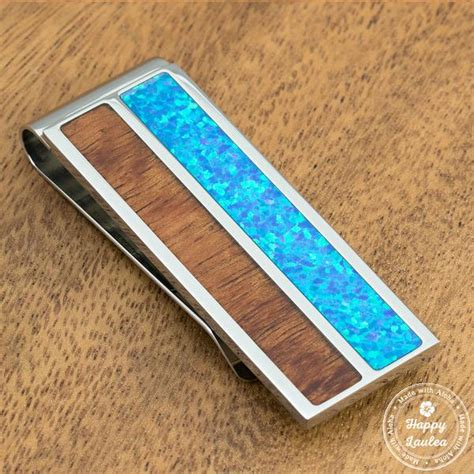 solid stainless steel money clip  blue opal koa wood
