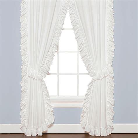 white ruffle curtains sarah white semi sheer ruffled window treatment