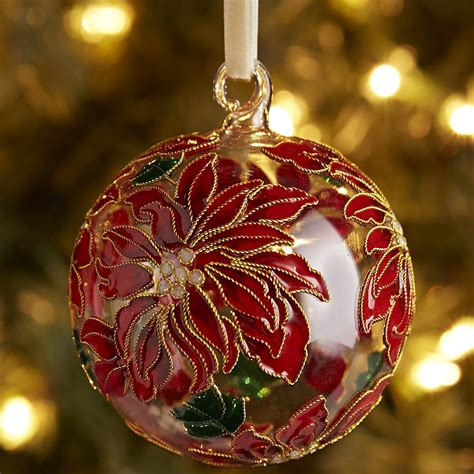 Pier One Ornaments cloisonne poinsettia ball ornament red pier 1 imports