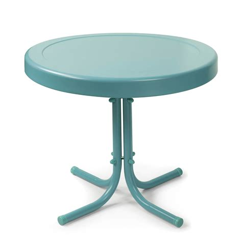 crosley retro metal side table patio accent tables at