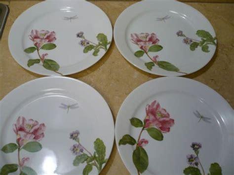 corelle camellia  dinner plates dragonfly ladybug flowers