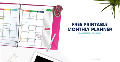 monthly planner calendar printable planner