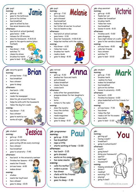 daily routines speaking cards worksheet  esl