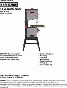 Craftsman 14 Inch Band Saw Owners Manual