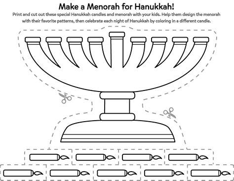 celebrate hanukkah   cut  menorah printable