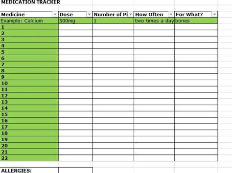 printable personal medication list medication list