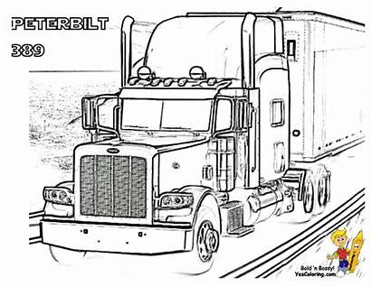 Coloring Peterbilt Truck Pages Semi Trucks Printable