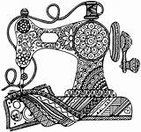 Zentangle Sewing Coloring Pages Machine Mandala Drawings Sheets Doodle sketch template
