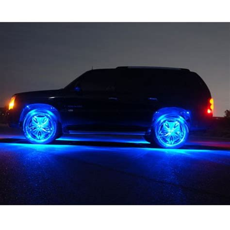 blue led wheel well neon glow lighting kit strips car