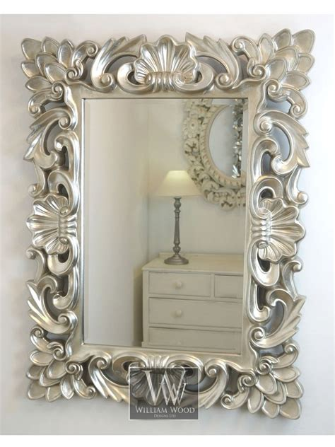 baroque silver vintage rectangle ornate wall mirror