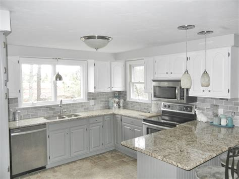 Kitchen Decoration Blue Grey Walls Tile Backsplash With