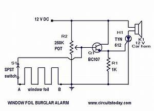 Home Security Alarm System Circuit Diagram