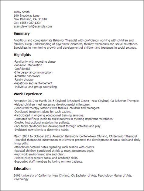 behavior therapist resume template  design tips