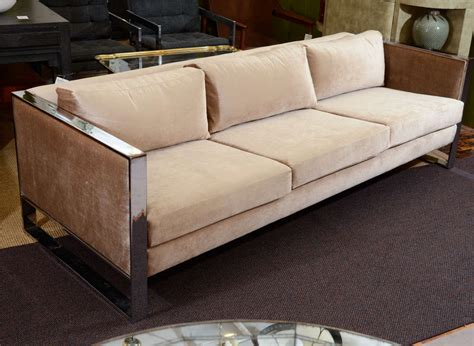 mid century velvet sofa mid century chrome and velvet sofa by milo baughman at 1stdibs
