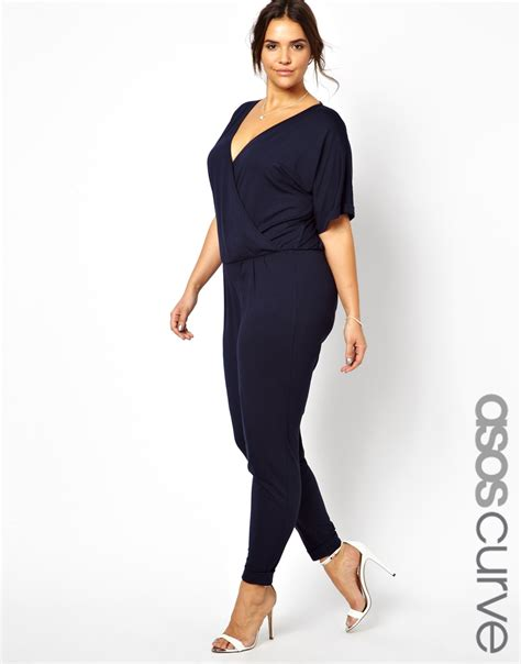 asos jumpsuit asos curve exclusive jumpsuit with wrap in blue navy lyst
