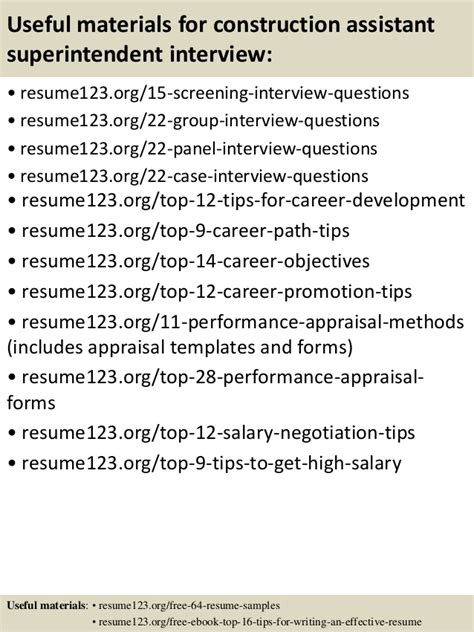 top 8 construction assistant superintendent resume sles