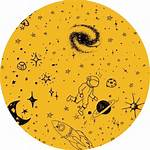 Aesthetic Yellow Planets Icon Transparent Sticker Clipart