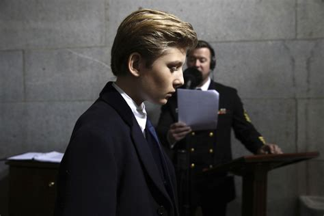 kid trump minuses pluses comes being herald capitol arrives inauguration barron donald ceremony president washington