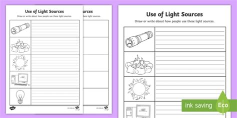 use of light sources worksheet activity sheet worksheet