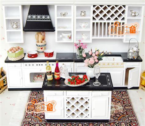 echelle de cuisine pas cher échelle 1 12 maison de poupée mobilier miniature blanc et noir moderne cuisine set