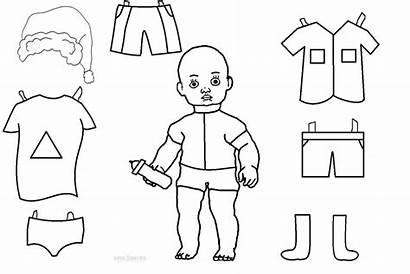 Template Doll Paper Coloring Pages Templates Dolls