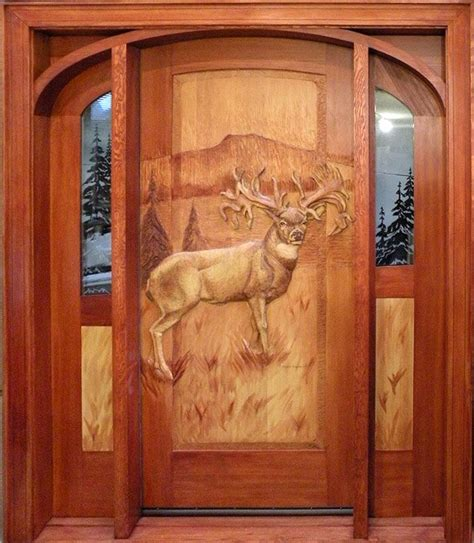 carved rustic exterior steel doors  homes hand carved